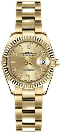 Amazon.com: Rolex Damen-Armbanduhr Lady-Datejust 26 Gelbgold 179178: Watches
