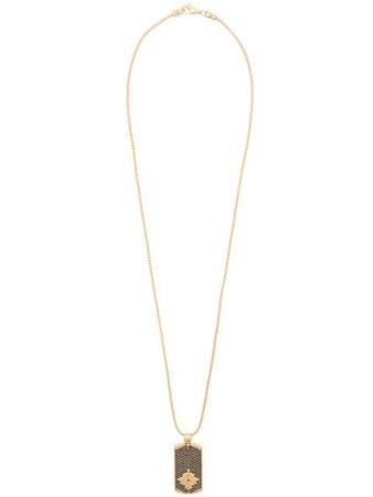 Nialaya Jewelry dog tag necklace MNEC011 metallic & black   Farfetch