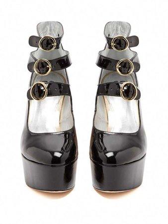 Mary-Jane patent-leather platform pumps | Alexachung