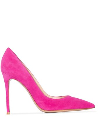 Pink Gianvito Rossi 105mm suede pumps G2847015RICCAM - Farfetch