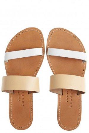 Agari Leather Slip On Sandals