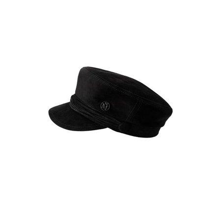 New Abby, casquette officier en daim noir. - Noir - Accessoires - Maison Michel Paris