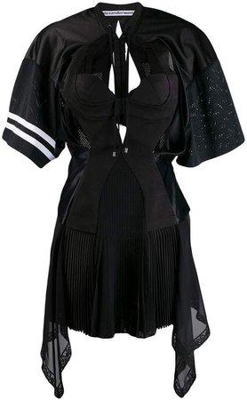 multipanel jersey mini flare dress