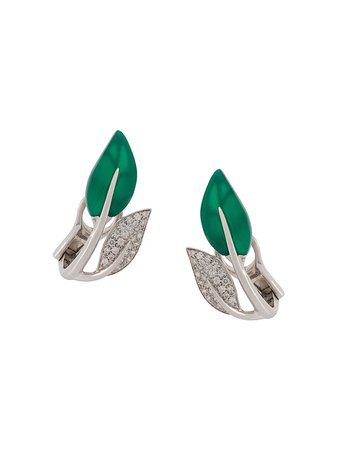 Mimi 18Kt White Gold Foglia Leaf Earrings OX1003B8GVB Silver | Farfetch