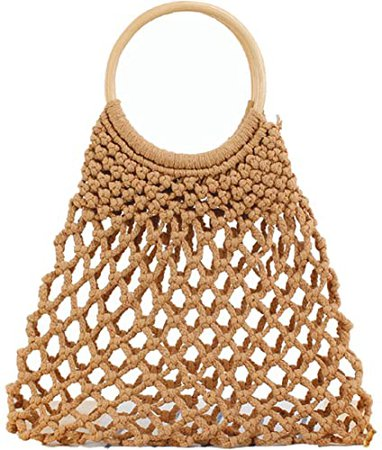 Women Handmade Mesh Beach Bag Wooden Handle Purse Tote Hobo Bag Braided Handbag Beach Purse