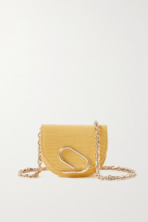 Alix Mini Lizard-effect Patent-leather Shoulder Bag - Yellow