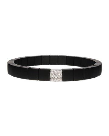 Roberto Demeglio SCACCO Black Ceramic Diamond 1-Bead Stretch Bracelet