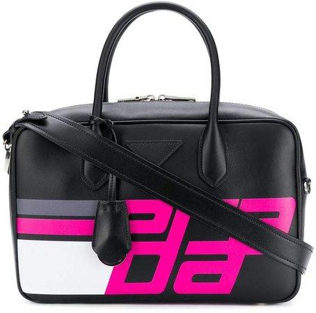logo print top handle bag