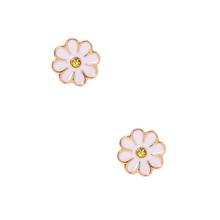 Sterling Silver Rose Gold Daisy Stud Earrings - White | Claire's US