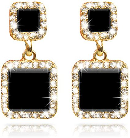 Amazon.com: Fashion Geometric Elegant Gold/Black Two Tone Square Hypoallergenic Stud Drop Dangle Earrings Jewelry Accessory for Girls Women, Gold/Black: Jewelry