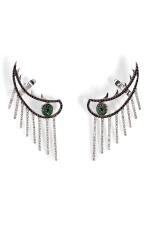 18K Gold Weeping Eye Earring with Diamonds and Tsavorites Gr. One Size