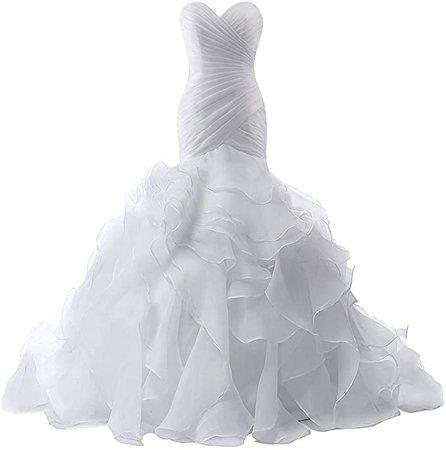 Amazon.com: Wedding Dress for Bride Mermaid Bridal Dress Trumpet Wedding Gown for Women Ruffles Wedding Dresses: Clothing