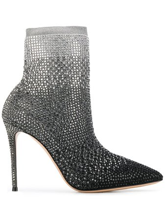 Casadei Crystal Embellished Ankle Boots 1Q966N1001TRILR Silver | Farfetch