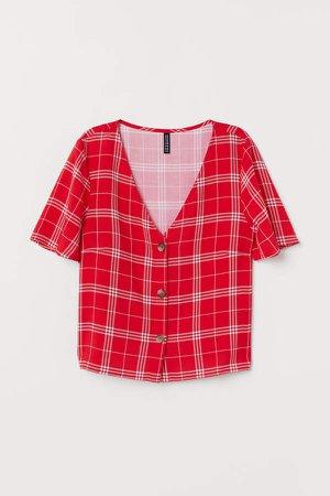 V-neck Blouse - Red