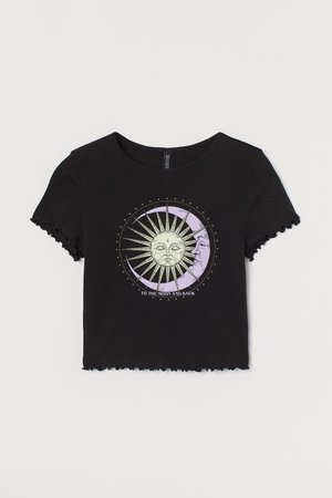 Ribbed Jersey Top - Black/To the Moon and Back - Ladies | H&M US