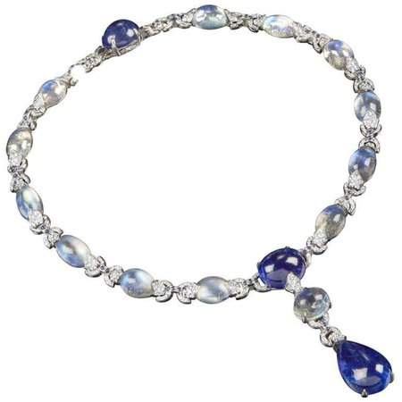 Tanzanite, Moon Stone, Sapphire and Diamond Necklace For Sale at 1stDibs