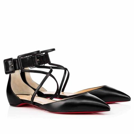 Black Classic Point Toe Suzanna D'orsay Buckle Sz. Euro Flats