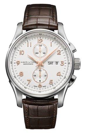Hamilton Jazzmaster Maestro Automatic Chronograph Leather Strap Watch, 41mm | Nordstrom