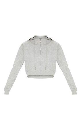 Grey Crop Zip Hoodie - New In This Week - New In   PrettyLittleThing USA