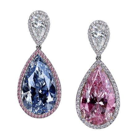 Jacob & Co blue and pink diamond earrings