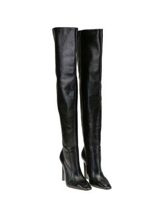 Balenciaga Black Women's Croc Thigh High Boots