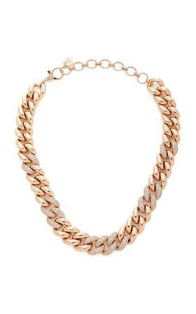 18K Rose Gold Jumbo Link Necklace with Alternating Pave by Shay | Moda Operandi