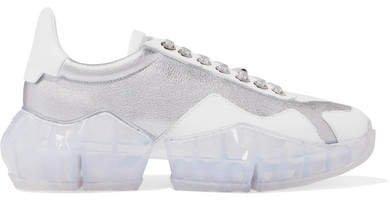 Diamond Metallic Leather Sneakers - Silver