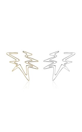 Sound Wave Hoop Earring In Yellow And White Gold by Kendra Pariseault | Moda Operandi