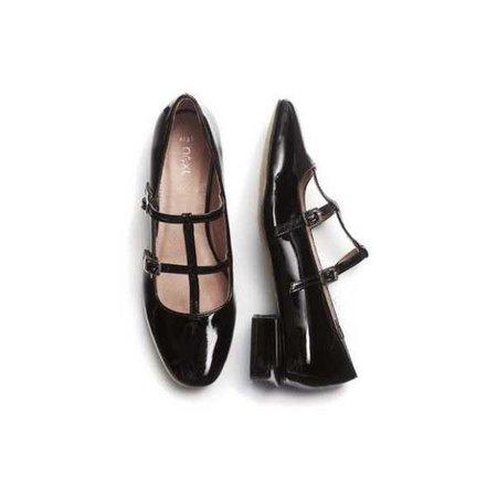 Black Patent Double T-Bar Shoes