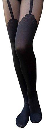 AM Landen Japanese Mock Thigh High Cat Rabbit Bear Garter Tatoo Printed Pantyhose at Amazon Women's Clothing store: