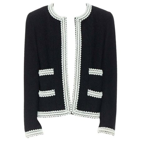 runway CHANEL 94P iconic black boucle tweed white rubber braid jacket FR38 rare For Sale at 1stdibs
