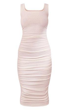 Cream Brushed Rib Sleeveless Ruched Midi Dress   PrettyLittleThing USA