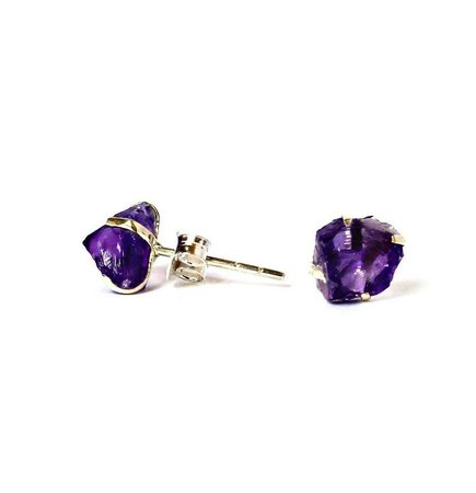 Raw Amethyst Earrings Set in 925 Sterling Silver Studs / | Etsy