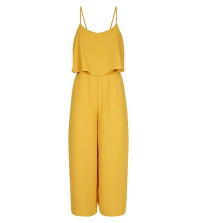 Yellow Layered Wide Leg Party Jumpsuit | New Look