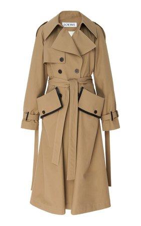 Leather-Trimmed Cotton-Gabardine Trench Coat By Loewe | Moda Operandi
