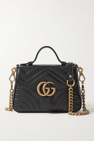 Black GG Marmont mini quilted leather shoulder bag   Gucci   NET-A-PORTER