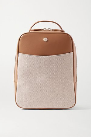 Mini City Leather And Canvas Backpack - Tan
