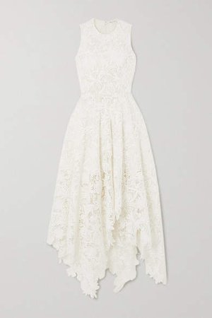 Asymmetric Cotton-blend Corded Lace Dress - Ivory