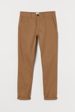 Skinny Fit Cotton Chinos - Light brown - Men   H&M US
