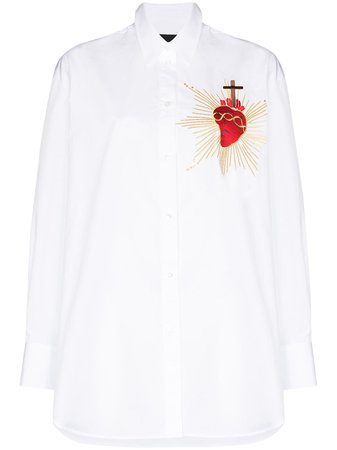 Shop white Simone Rocha heart-embroidered oversized shirt with Express Delivery - Farfetch