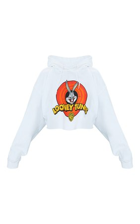 White Looney Tunes Printed Crop Hoodie | Tops | PrettyLittleThing USA