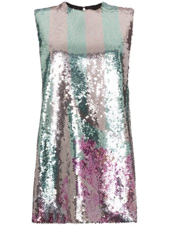 Metallic Halpern sequin embellished mini dress - Farfetch