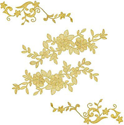 Amazon.com: 2 Large Gold Pairs Lace Flower Leaves Patches for Wedding Prom Dress DIY Clothing, Embroidered Appliques Patches