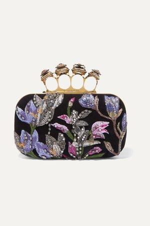 Black Knuckle embellished embroidered suede clutch | Alexander McQueen | NET-A-PORTER