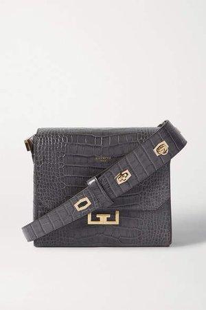 Eden Medium Croc-effect Leather Shoulder Bag - Dark gray