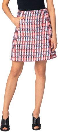 Check Cotton Blend Skirt