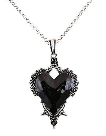 Black Heart Rose Thorns Pendant Punk Goth Metal Heavy Duty Necklace