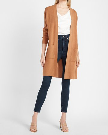 Ribbed Patch Pocket Cardigan | Express