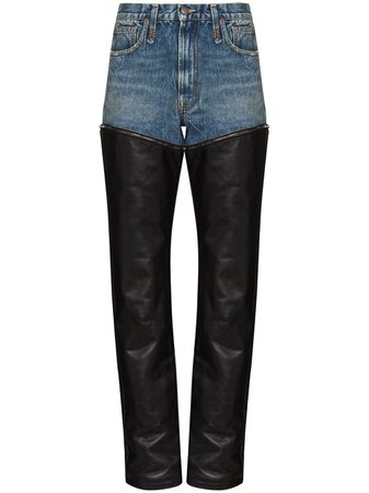 Shop blue & black R13 Axl layered straight-leg jeans with Express Delivery - Farfetch