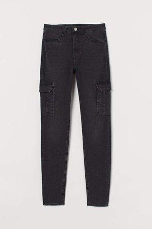 Slim High Cargo Jeans - Gray